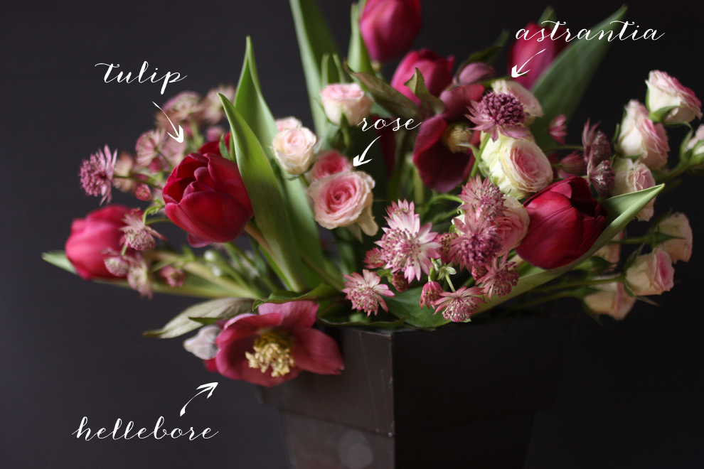 hellebore_astrancia_tulip_rose_Bouquet