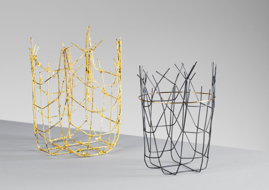 Andrew Flemming Distorted Vessels Steel and gold leaf, Silver and gold leaf.jpg