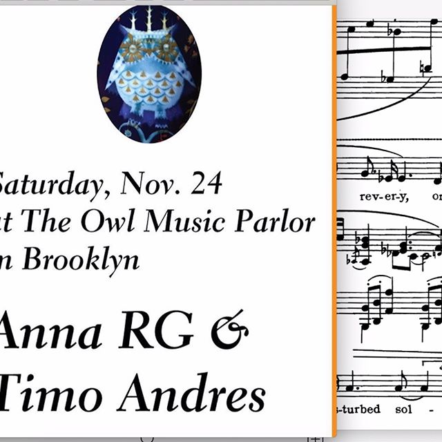 happy thanksgiving !!! / anna is playing a post-turkey show on SATURDAY with our bud, composer/pianist extraordinaire @timoandres at @theowlbk / join us join us /  8 don't be l8
