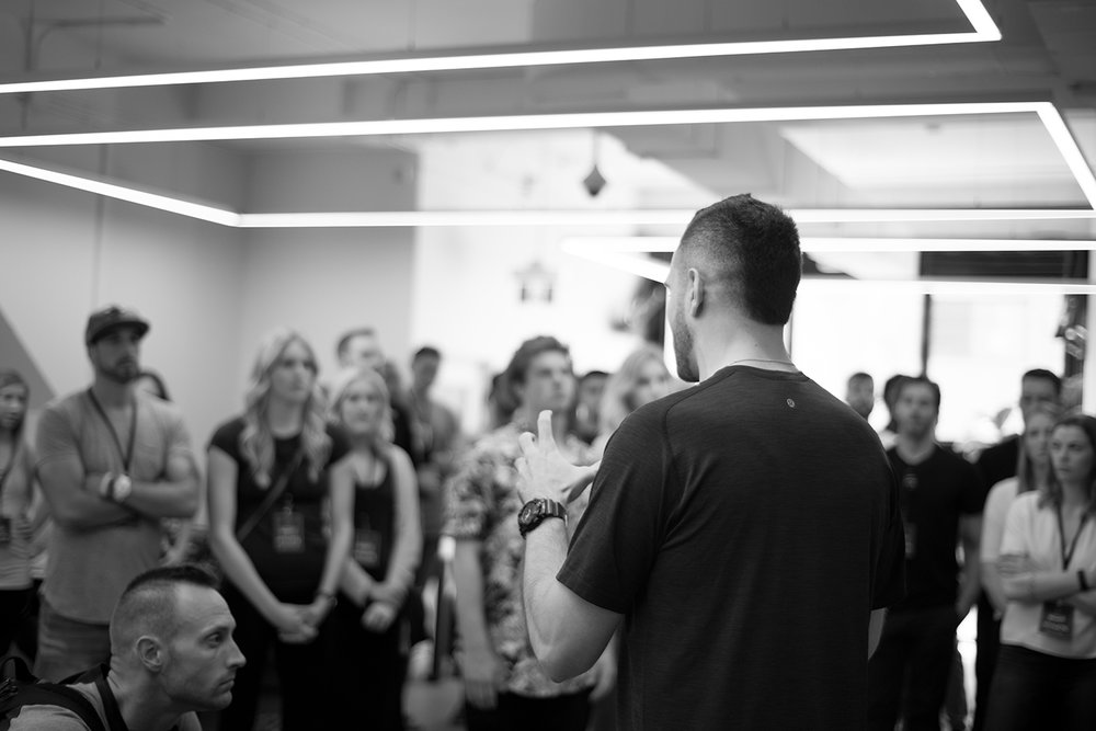 Vince Luciani from  the Legacy Coaching  chats with the 2017 Premier League athletes at the  lululemon Athlete Draft  on May 18th, 2017.