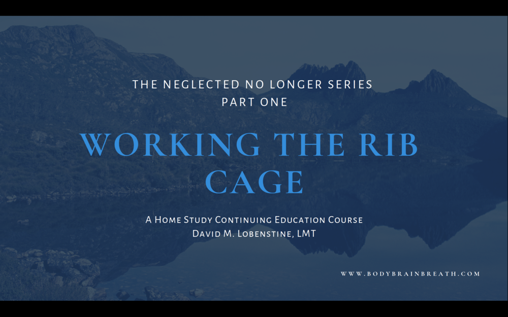 Working the Rib Cage: The Neglected No Longer Series, Part One   4 CEs, pending approval  available summer/fall 2019
