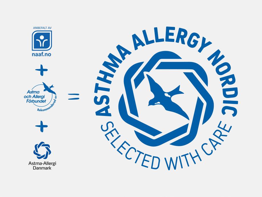 Astma- och Allergiförbundets märkning Svalan / Svalmärkningen går samman med Danske Astma-allergi Denmark Den blå krans och Norske Astma- og Allergiforbundets märkning och bildar tillsammans Asthma Allergy Nordic. Selected with care.