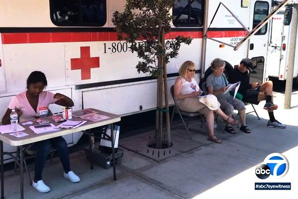 RED CROSS RECEIVES BLOOD DONATIONS AT MANHATTAN BEACH FARMERS MARKET
