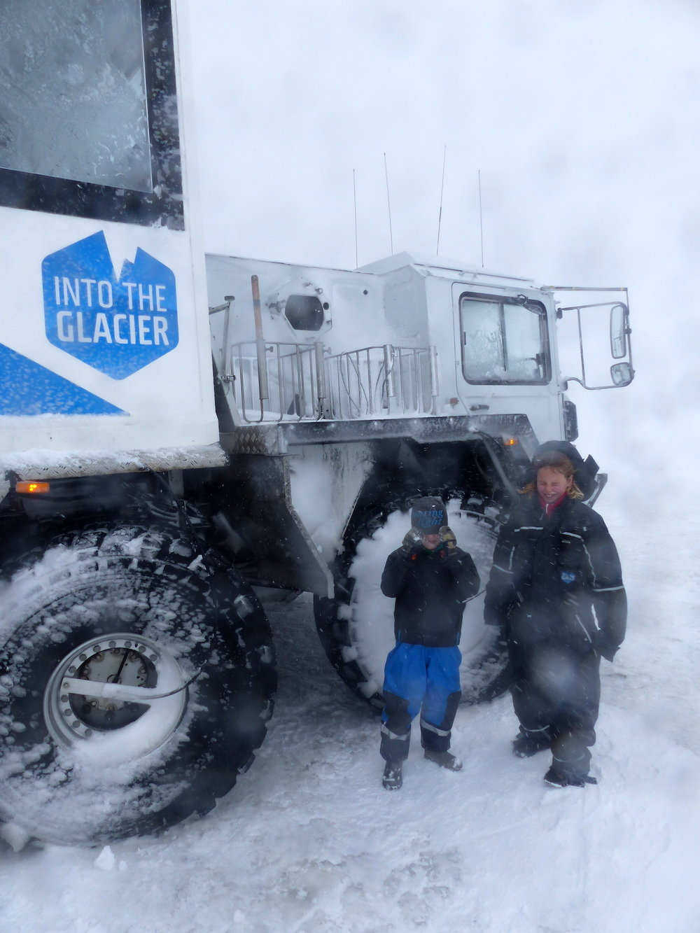 THE MONSTER TRUCK. AND MAISIE AND JOE, BRAVING A BLIZZARD!