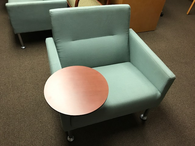 Allsteel Club Chair With Tablet Arm   Teal U2014 OEB | Used Office Furniture  Minneapolis