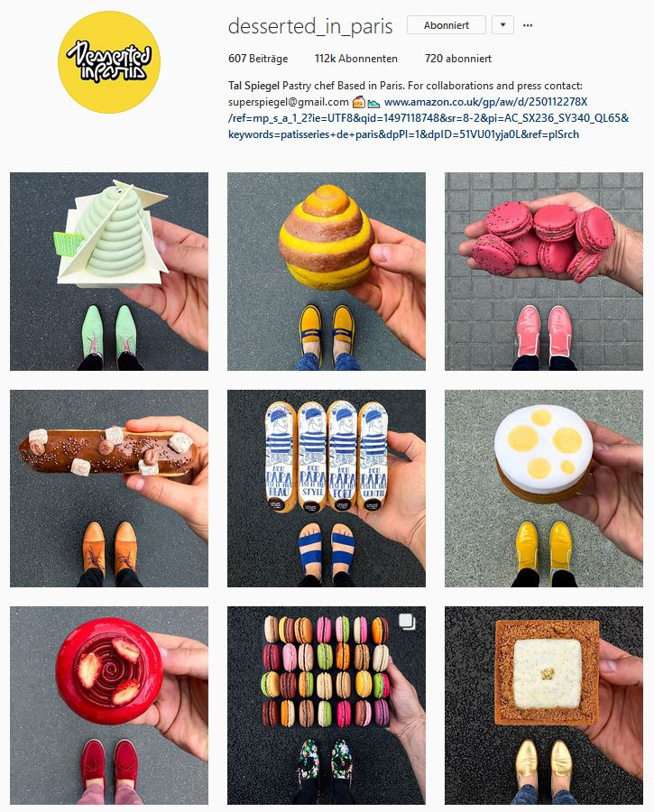 - An Israeli living in Paris can only have great ideas! Tal Spiegel is eating his way through all the divine pastry shops the city has to offer and is choosing the most creative sweets to feature on Instagram. Check out his colorful account!
