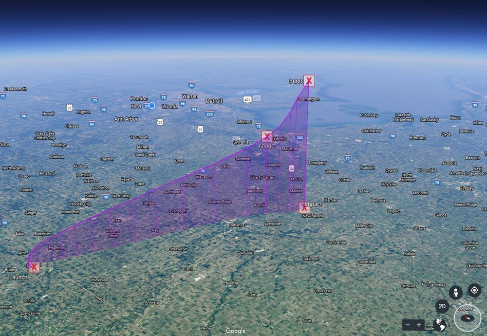Flight path simulation imported into Google Earth. This is approximately the view from the HAPP at apogee.