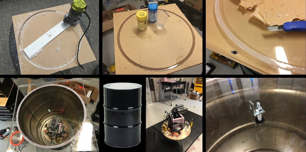 Clockwise from top left: Router and protractor on plexiglass slab;  Pouring RTV silicon into the trough;  Peeling away protective masking;  Attaching hangar for monofilament;  New compact test apparatus;  Steel drum;  Apparatus hanging from plexiglass cover.