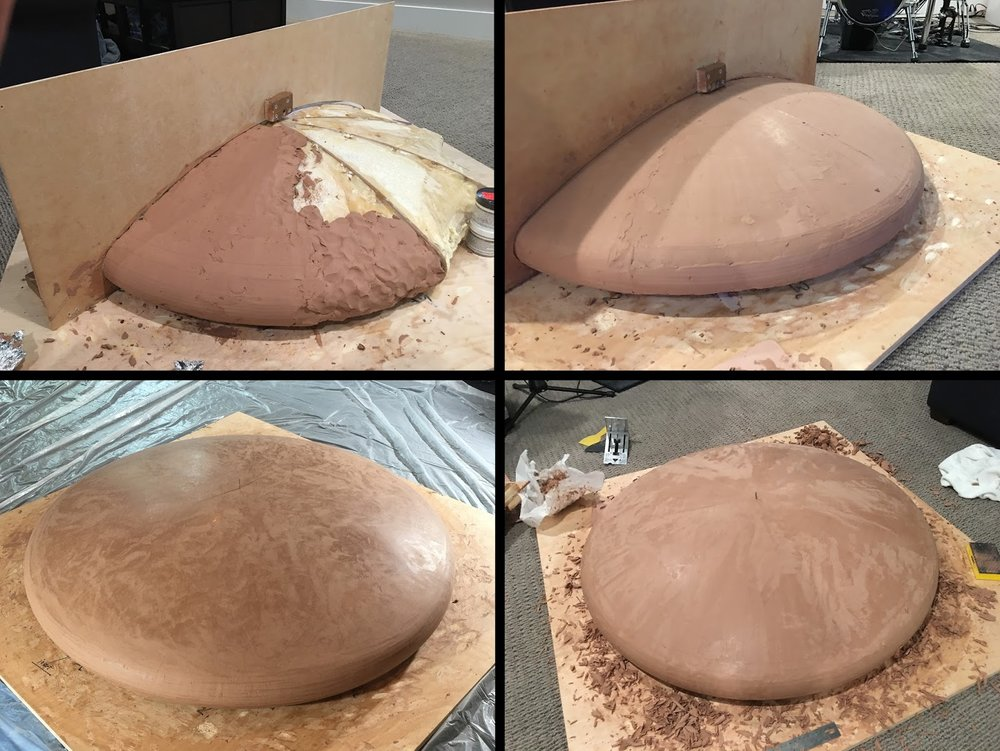 Clockwise from top left: (1) Filling out the profile with clay;  (2) Scraping with the wooden fixture;  (3) Lots of bits after scraping!  (4) Ready for coating.