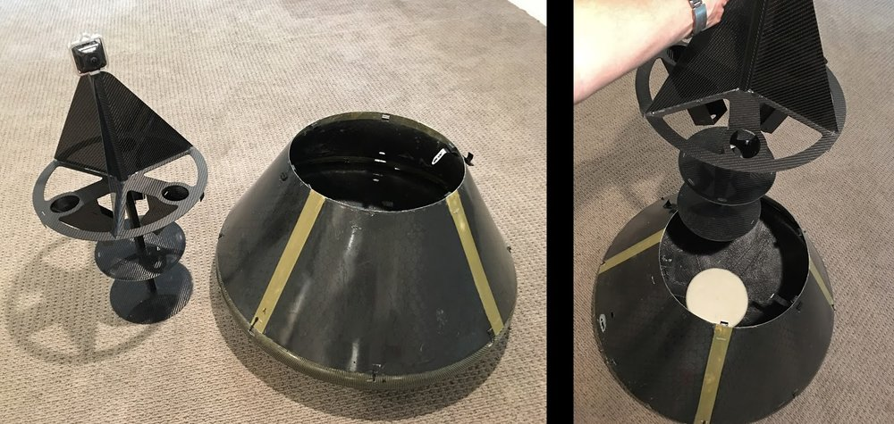 Left: Structure with ELS & 360 VR camera, sitting next to aeroshell. Right: Inserting structure into aeroshell. Foam pad placement is visible.