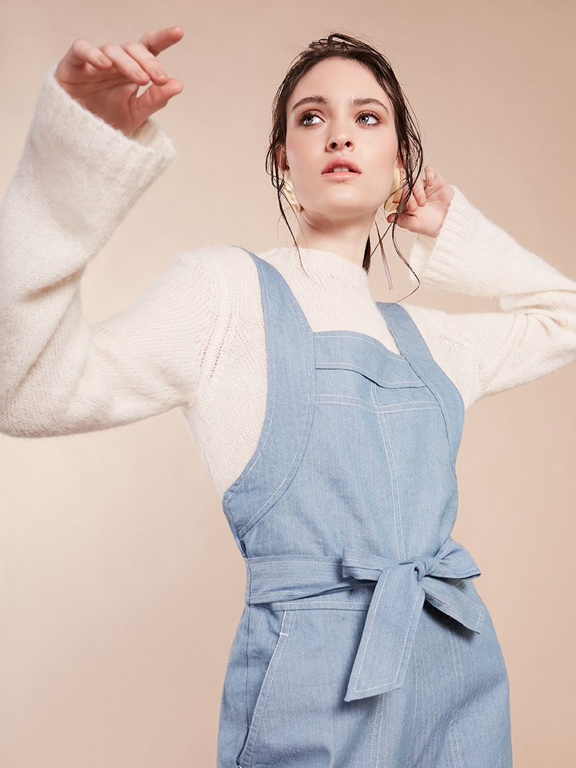 2. - Sideline dungarees, £195, Caro Somerset; Gauzy alpaca linen sweater, £155, Toast;Metal earrings, £9, Cos