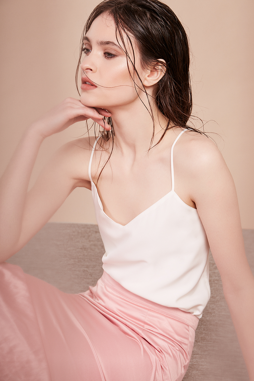 8. - Rigid crinkle skirt, £65, Topshop Boutique; Maison Scotch white cami, £55, Maze