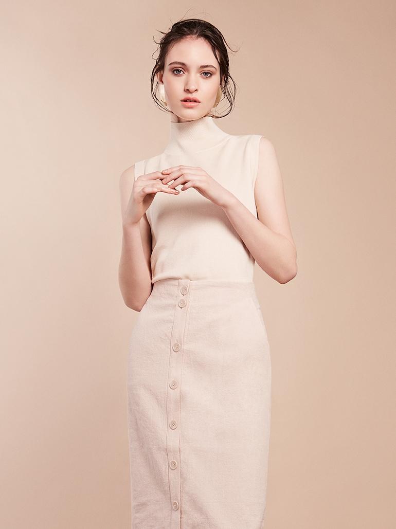 3. - Button down midi skirt, £29.99, H&M;High neck vest top, £69, Cos