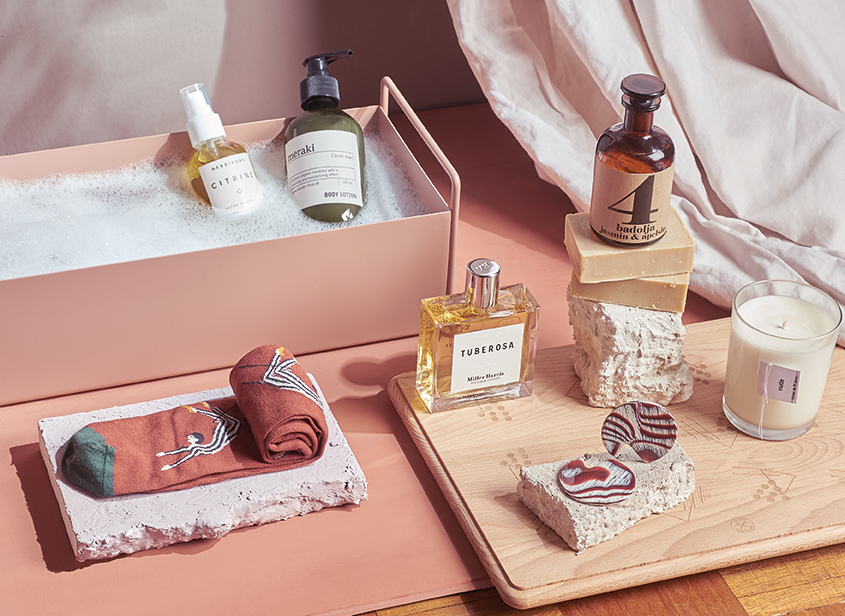 Sunshine and self-care - Rose plant box by Ferm Living, £59, Resident Store.Herbivore citrine body oil, £31.50, Resident Store.Meraki linen dew body lotion, £16, Resident Store.Terrible twins bath oil no.4, £25, Maze.Soap bars by Scrubbed by Nature, £6.50,Frome Hardware.Nude candle by Cousu de fil blanc, £35,Caro Somerset.Clare earrings by Machete, £55,Found Bath.Miller Harris Tuberosa eau de parfum (100ml), £165, Maze.Wooden board, £45, Frome Hardware.Socks by Bonne Maison, £15.50, Found Bath