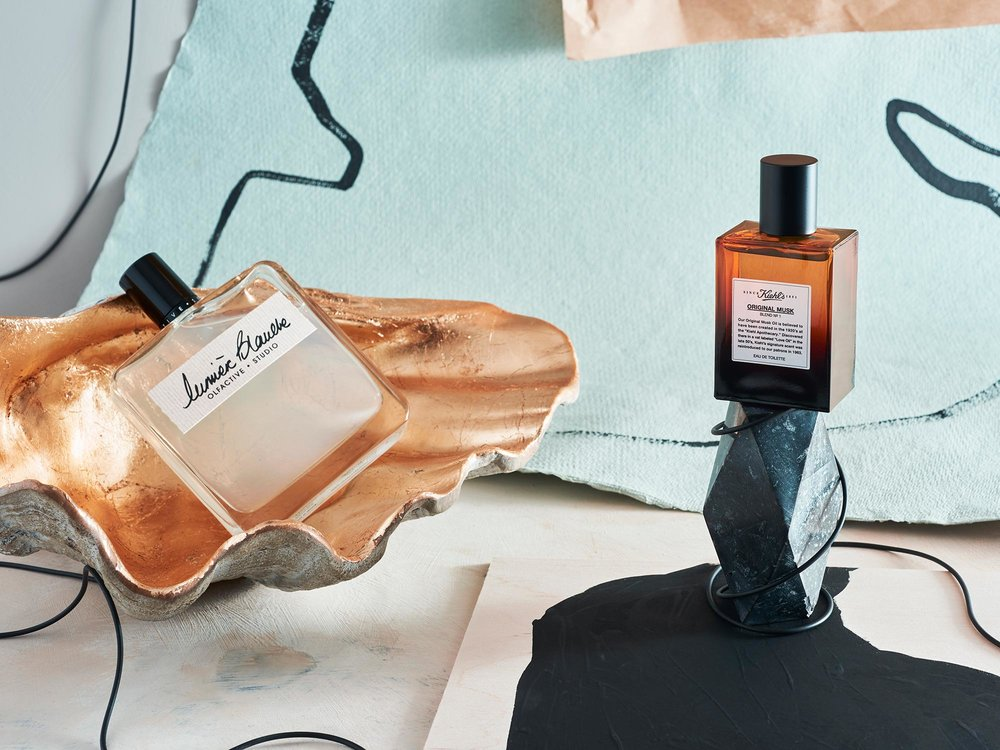Lumière Blanche eau de parfum by Olfactive Studio from  Shy Mimosa , 50ml, £84; Gold Shell Dish by  Graham and Green , £29.95; Original Musk eau de toilette by  Kiehl's , 50ml, £43; Incense holder by John De Pauley from  East of Home , £85
