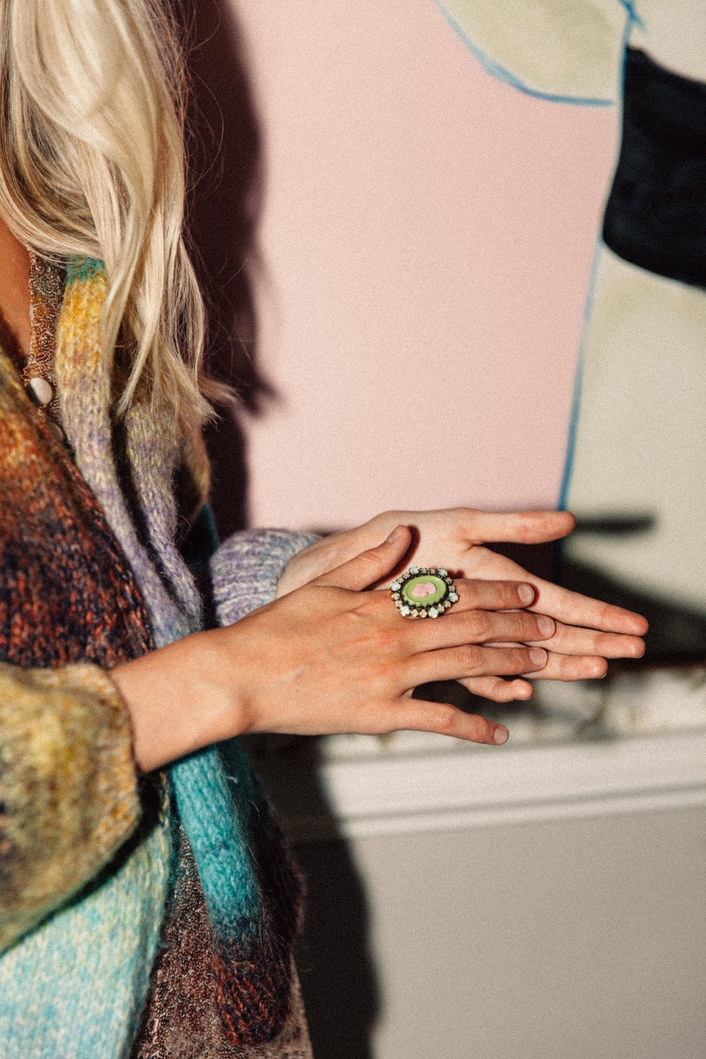 Rainbow ombre cardigan, £52,  Urban Outfitters ; Macaron cameo ring, £54, Konplott (colour on the rocks collection) at  Alexandra May .