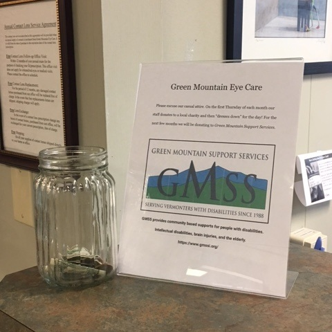 We were honored to have  Green Mountain Eye Care  place a donation jar for us during the summer of 2018