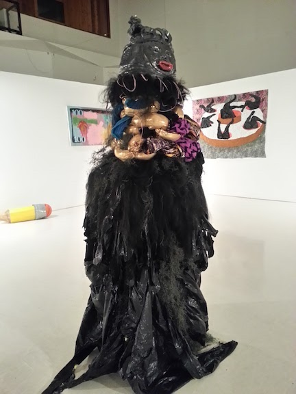 """Debbie and Joi. """"Ceramic sculptures named after lead women from the movie Friday and inspired by the masquerade of the Sande society. The work was created to challenge respectability politics within black culture."""" (Courtesy of the artist)"""