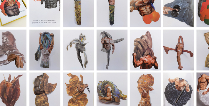 """Body Reconstruction , 2015. Magazine cutouts on book pages. Collage 11"""" x 5"""" each (30,5 x 37 cm each) Image courtesy of Ana Mas Project"""