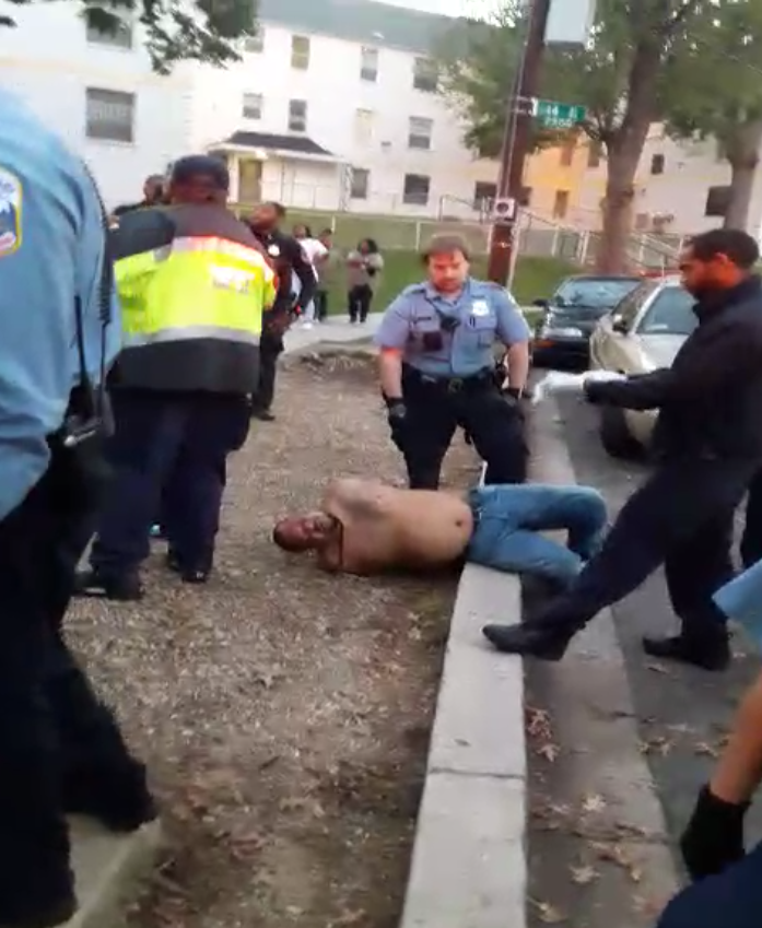 Mr. Shawn Robinson, during the assault by armed security, in the presence of MPD officers at Brookland Manor.