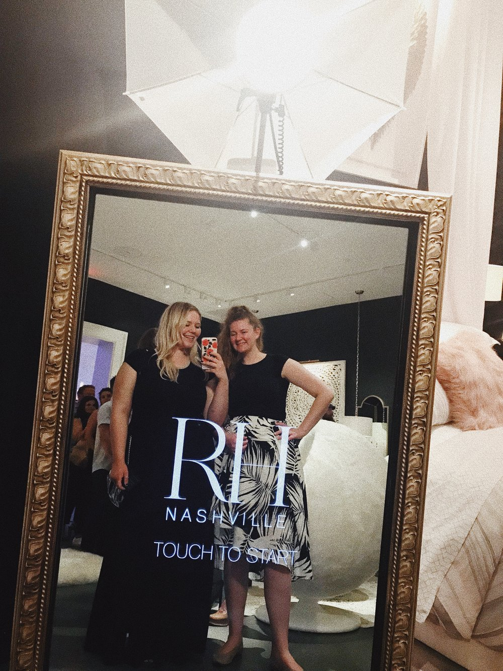 My sister, Kourtney, and I attended the event and mingled with Nashville's creatives, entrepreneurs, and industry professionals. The new RH space is SO beautiful and feels more luxurious than other Nashville hotspots. The four-story building offered a signature drink on each floor, a candy bar, and a Photo Booth.