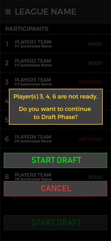 League Home - confirm draft