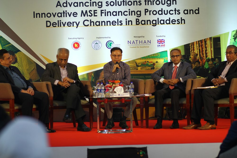 From left to right:     Jalalul Azim, Managing Director and CEO, Pragati Life Insurance Limited; Gokul Chand Das, Member, IDRA; Arijit Chowdhury, Additional Secretary, Financial Institutions Division, Ministry of Finance; Helal Uddin Nizami, Commissioner, BSEC and Shawkat Hossain, Managing Director, BD Venture     Limited