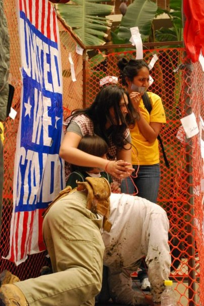 I. This image represents various family members unable to leave the cage that is living in the U.S., except to work service jobs and attempt to remain invisible and without voice. (Dulce Juarez, Silvia Rodriguez Vega, Mateo Dominguez, and Masavi Dominguez, 2009)