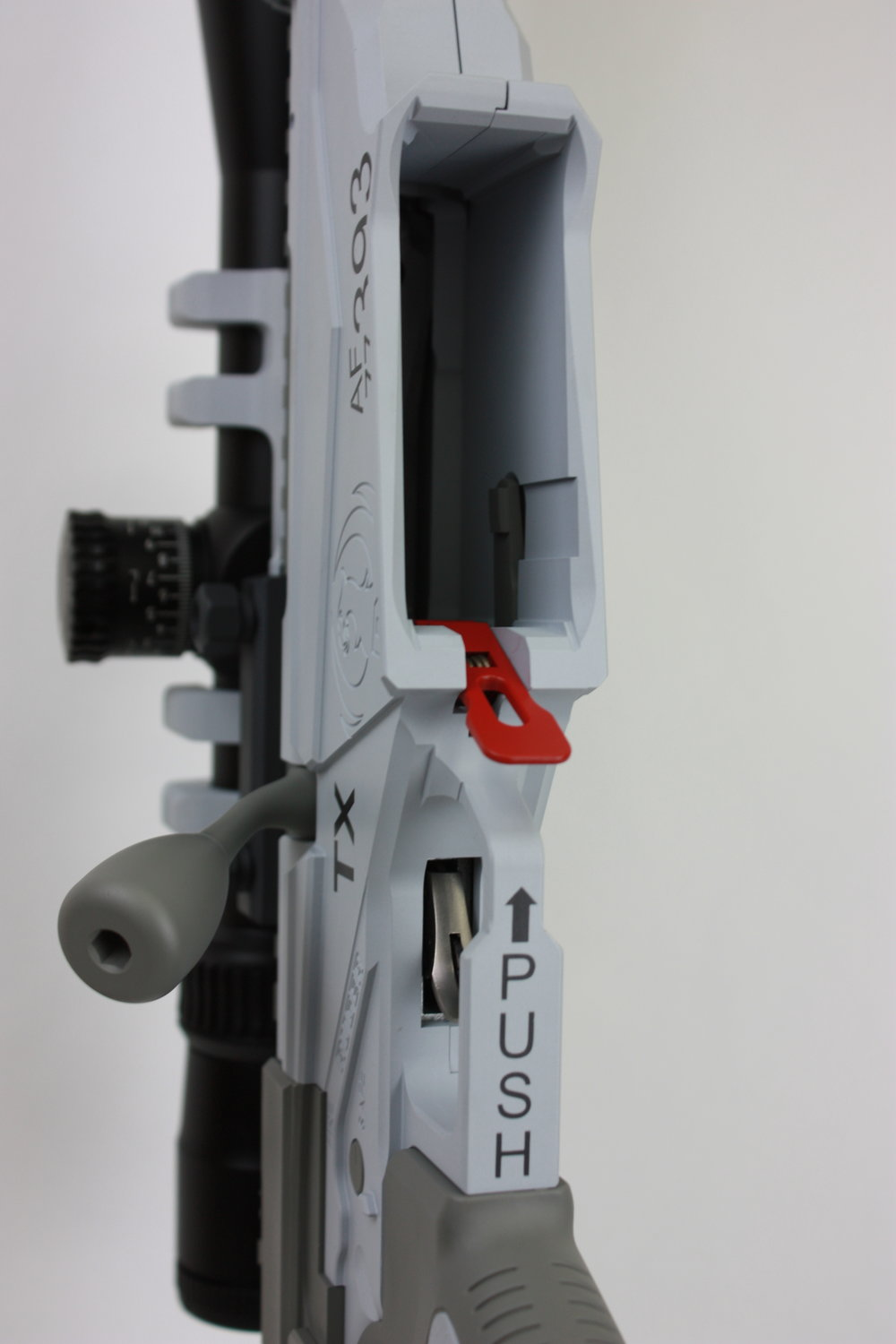 Most levers and controls in an aircraft are labeled with clear instructions much like this mag release lever.