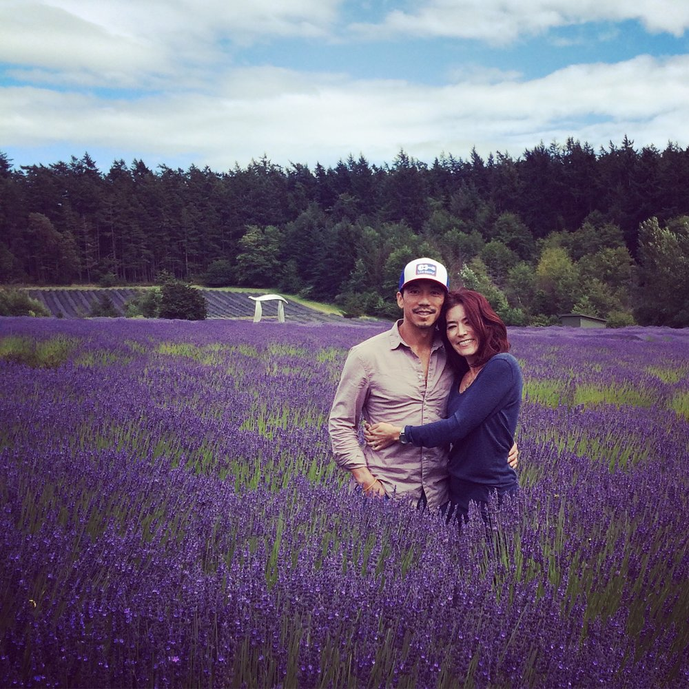 In the lavender field with the hubster.