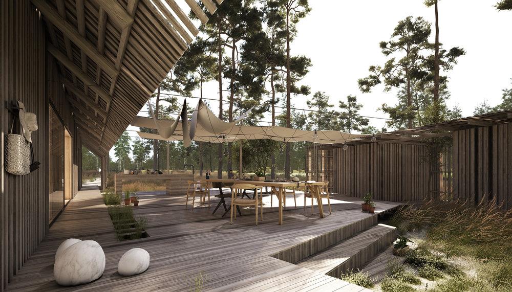 Imellem hovedhus og anneks udspændes, husets vigtigste rum:terrassen