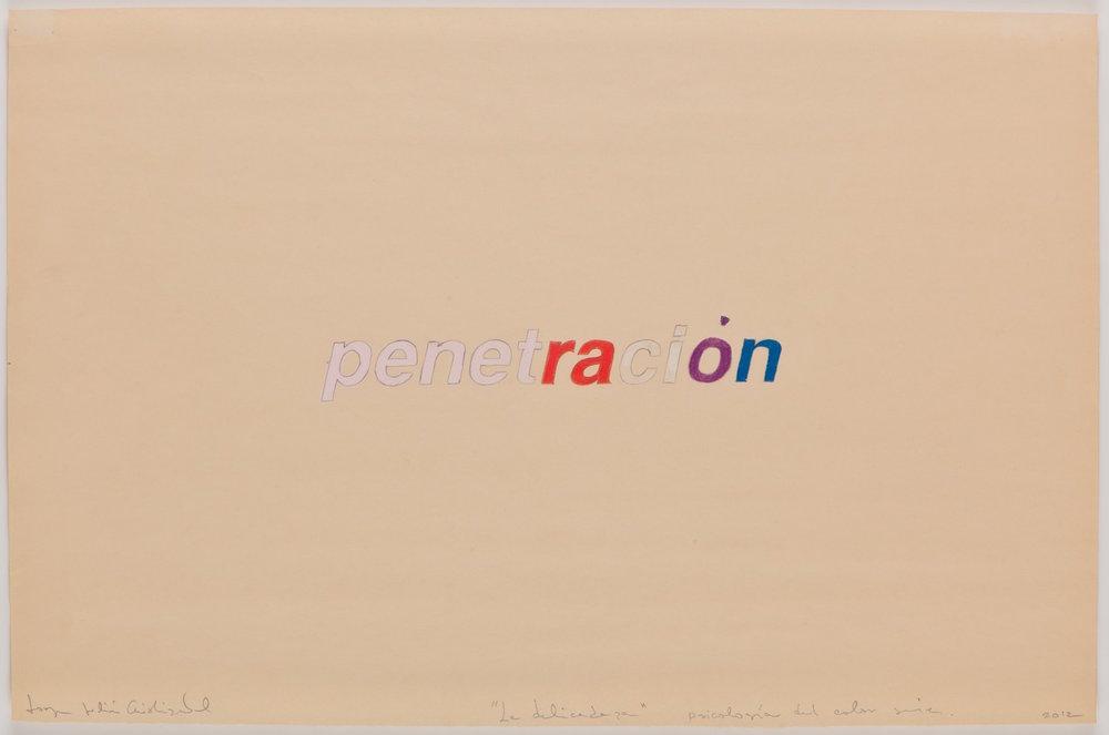 Sicología del color      Lápiz de color sobre      papel, 33 x 48 cm. 2013