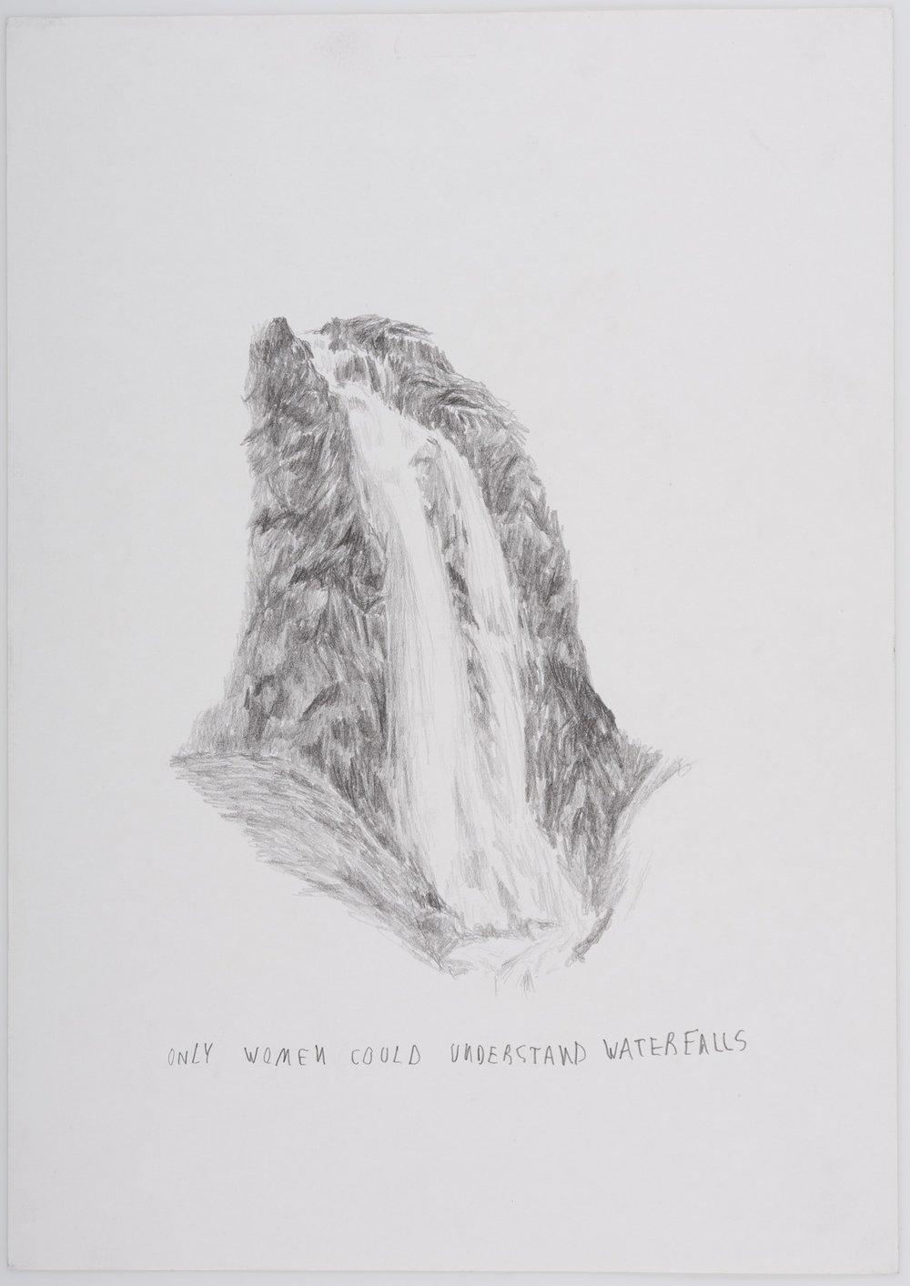 Solo las mujeres pueden entender cascadas   Grafito sobre papel      26 x 20 cm.2002