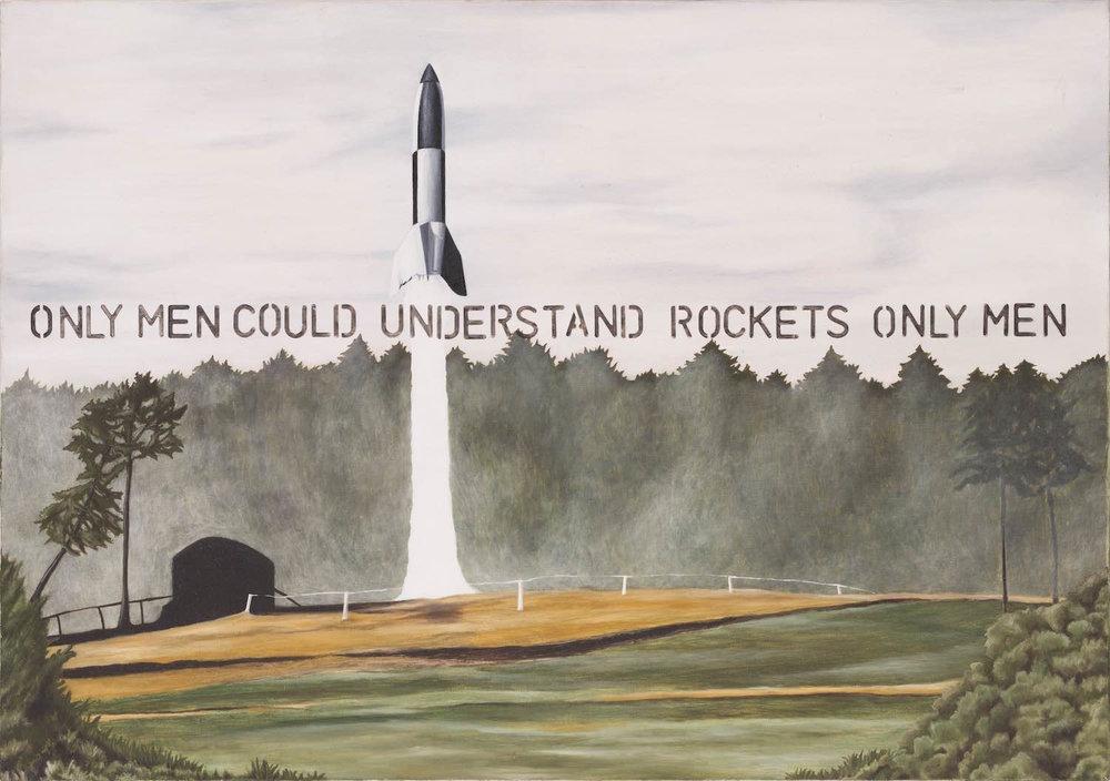 Solo los hombres pueden entender cohetes   Óleo sobre lienzo       26 x 20 cm.2003