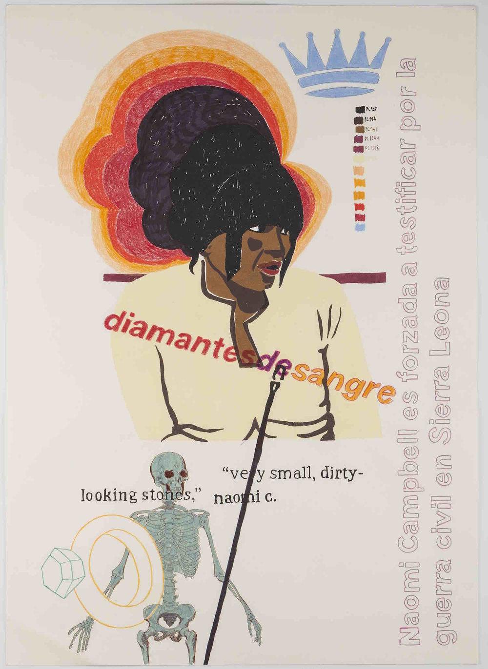 Naomi   Serigrafía, grafito y lápiz de color, 70 x 50 cm.2013