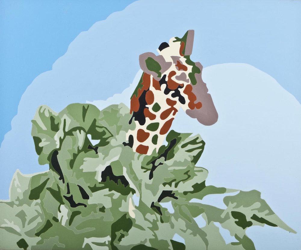 Jirafa de jardín   Acrílico sobre lienzo     40 x 50 cm.2010