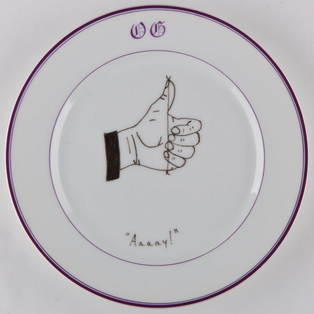 """""""Aaaaay""""   Esmalte sobre plato antiguo 25 cm diámetro. 2012"""