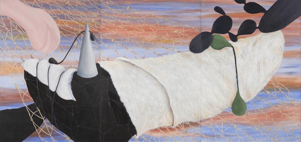 Casi todos juntos   Óleo sobre lienzo        360 x 120 cm. 1999