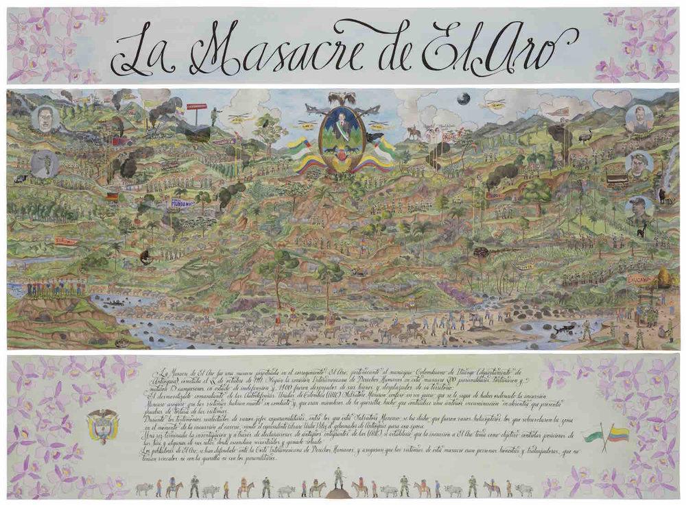 La Masacre de El Aro   Técnica mixta sobre papel 174 x 204 cm. 2017