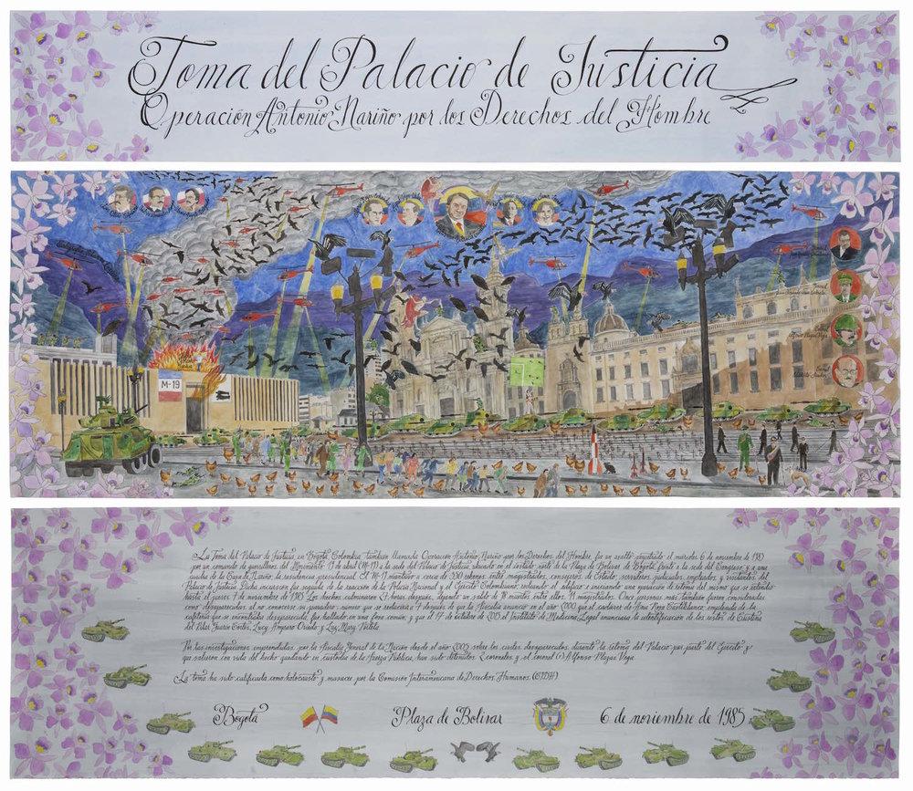 Toma del Palacio de Justicia   Técnica mixta sobre papel 175 x 204 cm 2017