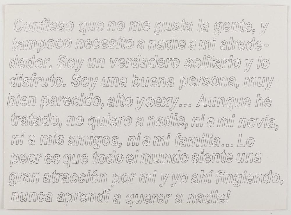 Yo confieso   Grafito sobre papel      30 x 40 cm. 2012