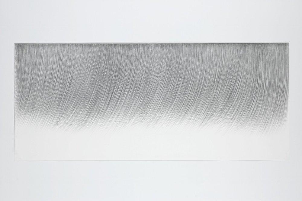Pestañas 1   Grafito sobre papel 92 x 213 cm. 2005