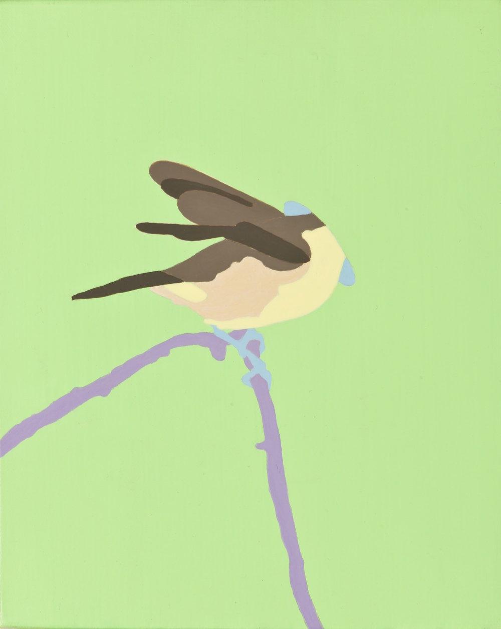 Son los pájaros penetradores los que meten la cabeza en los nidos, en los troncos de los árboles, en las casitas, en los agujeros que encuentran. No importa que las distintas aves que pinta Aristizábal sean de variados tamaños y colores; las reconocemos sin cabeza, pues sus cuerpos ofrecen suficiente información para nuestras mentes. Él las va despojando de sus partes, y nosotros todavía las seguimos reconociendo. El contenido visual es escaso; sin embargo, el contenido conceptual es erótico y abundante: con qué dicha, con qué fuerza penetran ellas en los agujeros.   Penetración   Acrílico sobre lino 25 x 20 cm. 2012