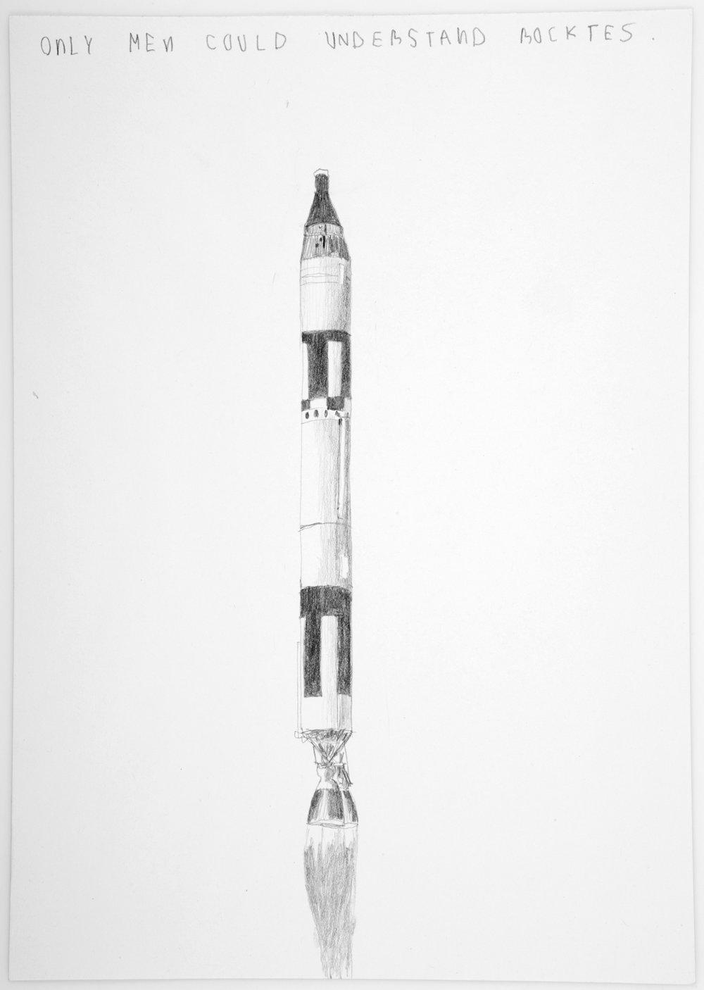 Solo los hombres pueden entender cohetes   Grafito sobre papel      26 x 20 cm.2002
