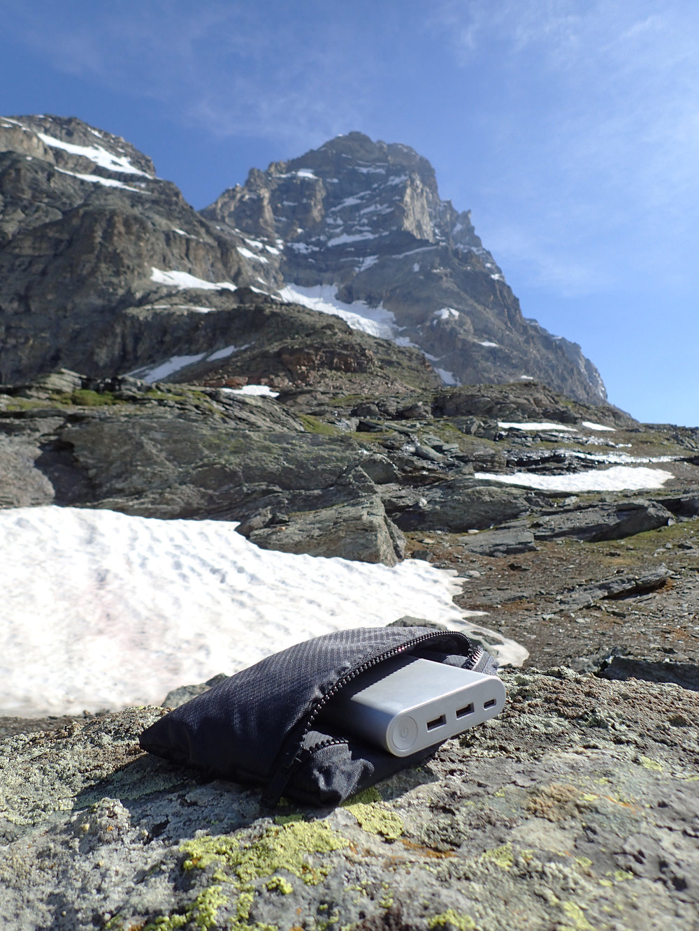 An early stage prototype soaking in the High Alps of Switzerland.