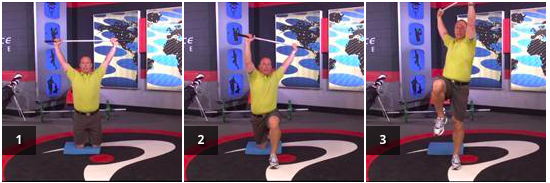 Tall kneeling step out and up with rotation - improve lower body stability while rotating over, maintaining good core control