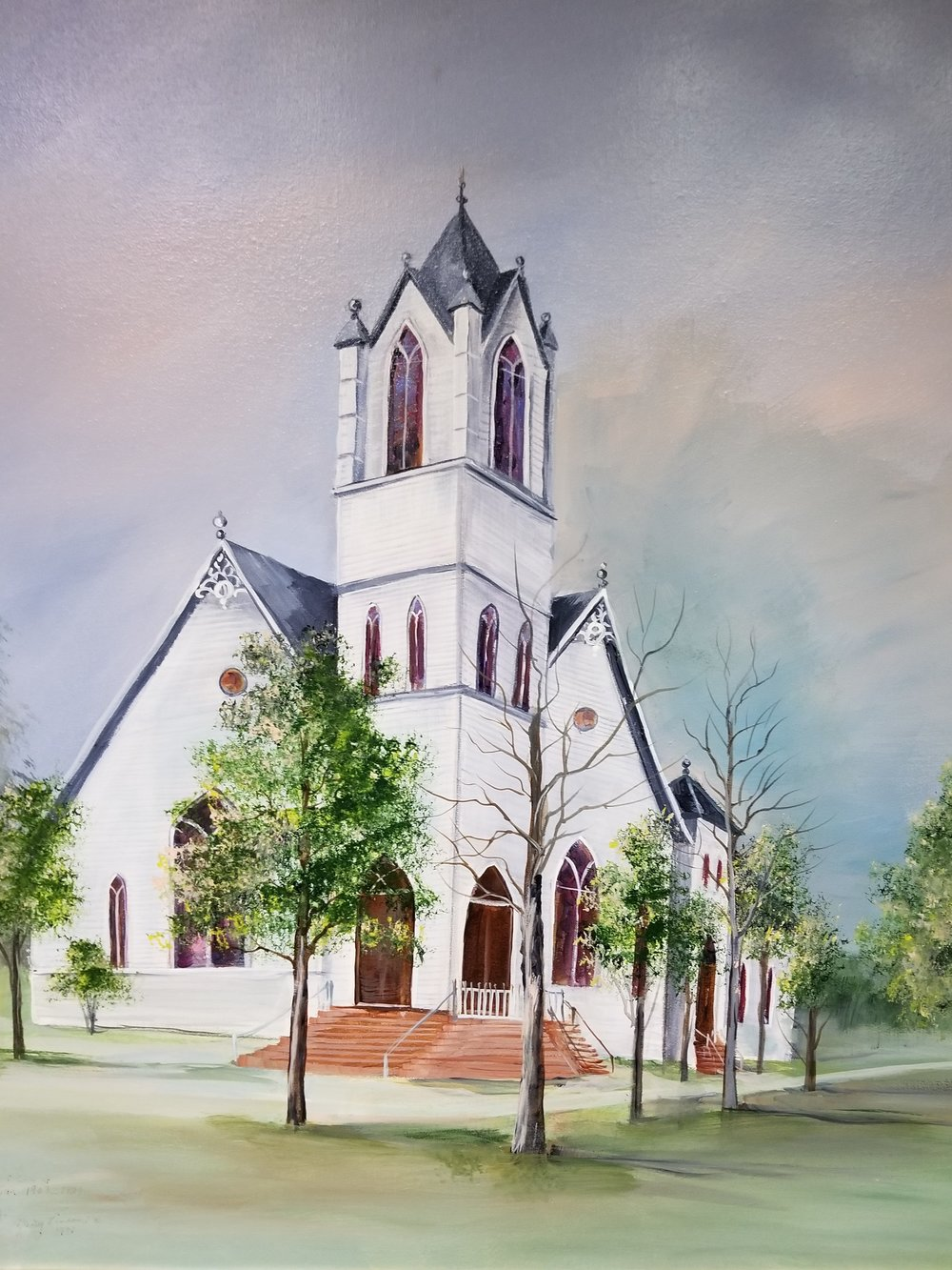 Painting of Original First Baptist Church Building, by Marie Vinson