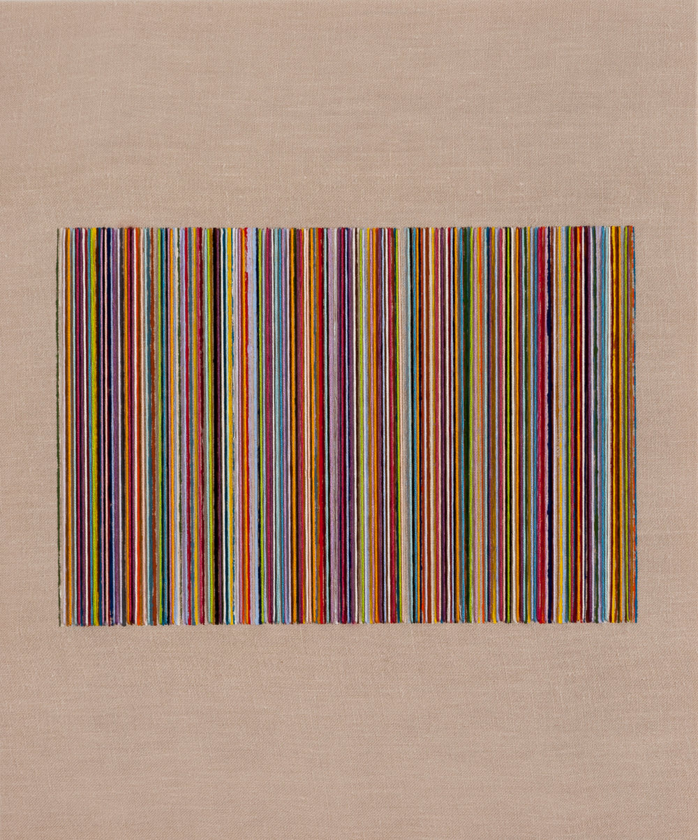 8 - LINE UP, 2013, 17x14  Flashe and embroidery floss on linen.jpg