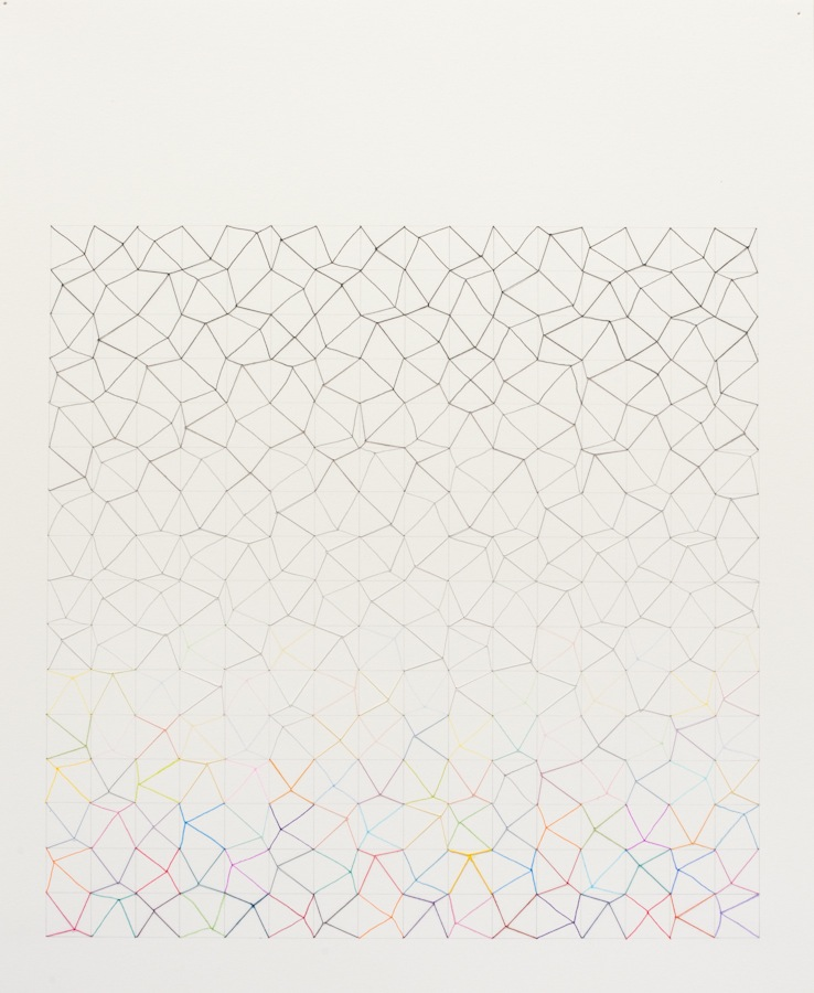 #59 (horizontal white - black to confetti). 2011, thread, ink, pencil, paper, 17x14.jpg