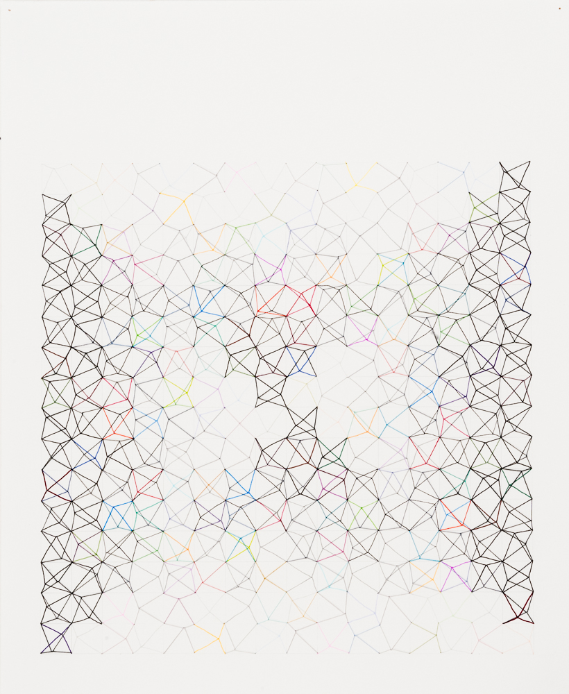 #80 (Wonky X), 2012, thread, ink, pencil, paper, 17x14.jpg